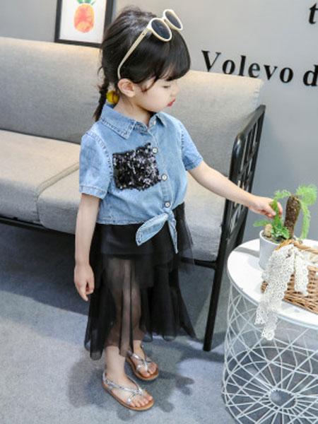 瑞业童装品牌2019春夏纯色牛仔纱裙套装