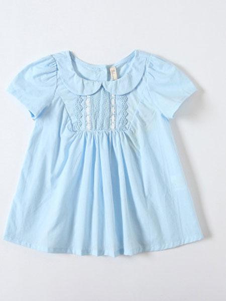 旗萱童装品牌2019春夏娃娃领短袖纯棉连衣裙