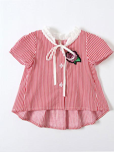 旗萱童装品牌2019春夏条纹上衣宝宝短袖衬衫