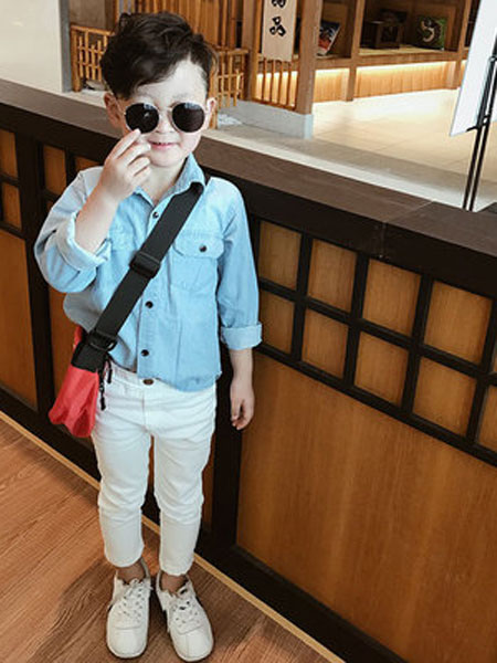语含贸易童装品牌2019春夏潮款双环长袖衬衫