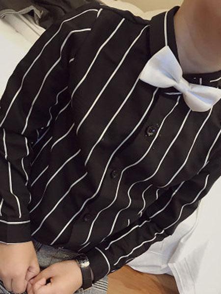 语含贸易童装品牌2019春夏条纹衬衫