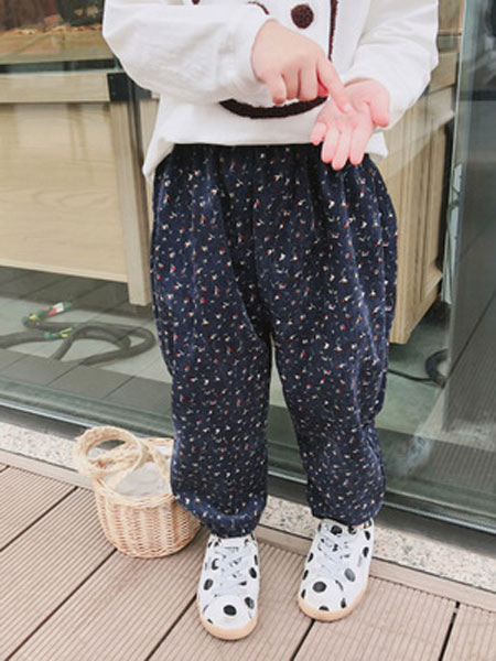 楚华莱嘉童装品牌2019春季灯芯绒色织宽松童裤