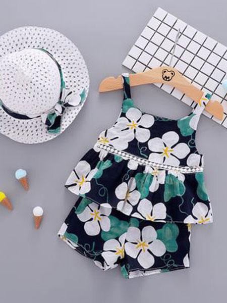 睿之乐童装品牌2019春夏吊带短裤纯棉两件套