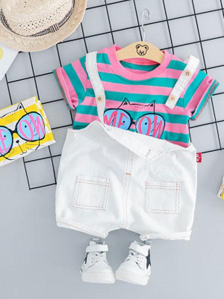 睿之乐童装品牌2019春夏短袖背带裤两件套装