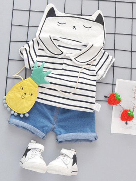 睿之乐童装品牌2019春夏翻领条纹上衣牛仔短裤