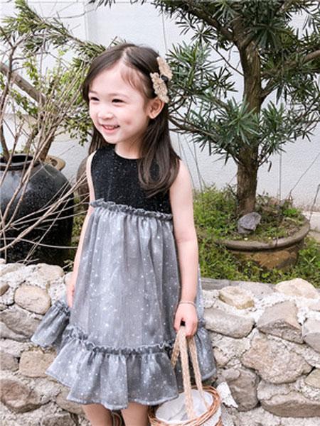 哆哈哈童装品牌2019春夏闪闪星星拼接纱裙ins连衣裙