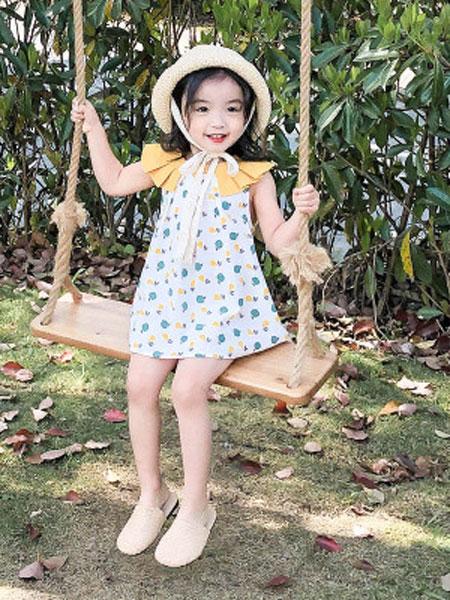 哆哈哈童装品牌2019春夏娃娃领小蝴蝶结纱裙连衣裙