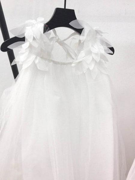 哆哈哈童装品牌2019春夏纯色树叶羽毛吊带裙六一表演裙