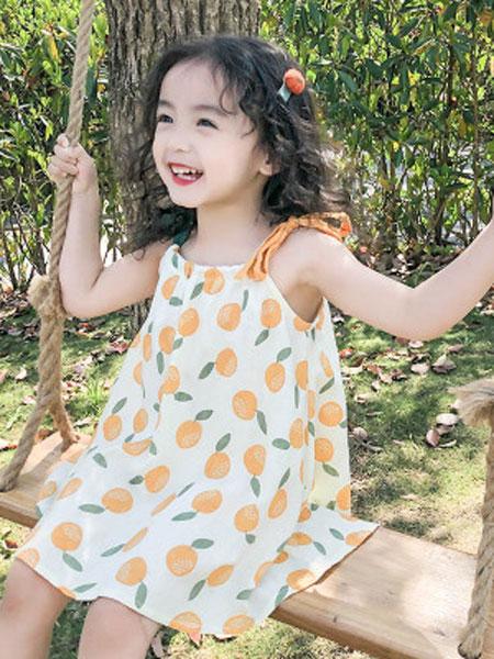 哆哈哈童装品牌2019春夏撞色吊带印花连衣裙韩版