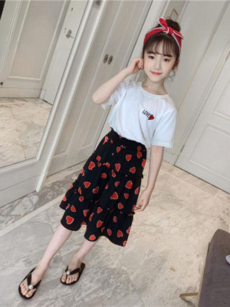 甜丝童装品牌2019春夏短袖七分裙裤套装