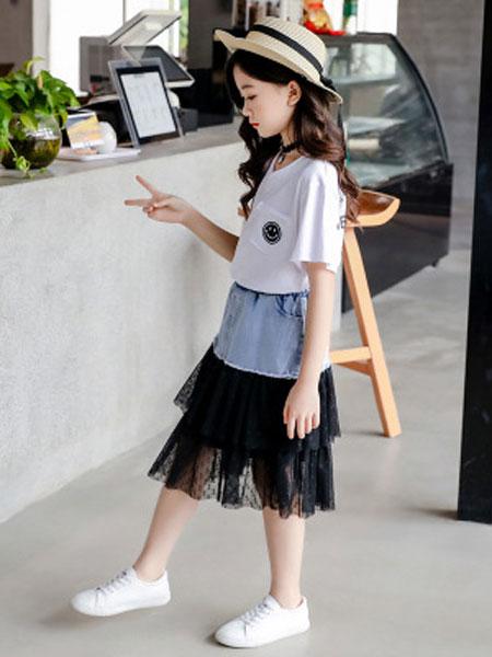 甜丝童装品牌2019春夏笑脸短袖牛仔纱拼接裙套装