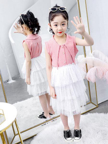 甜丝童装品牌2019春夏格子衬衫蛋糕纱裙套装