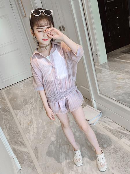 甜丝童装品牌2019春夏竖条防晒服吊带中袖短裤