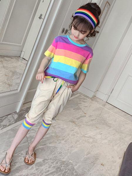 甜丝童装品牌2019春夏彩虹短袖中裤休闲套装