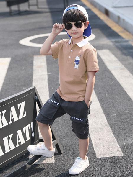 甜丝童装品牌2019春夏短袖衬衫短裤套装