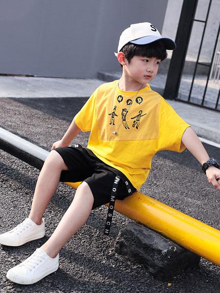 甜丝童装品牌2019春夏印花织带短袖短裤套装