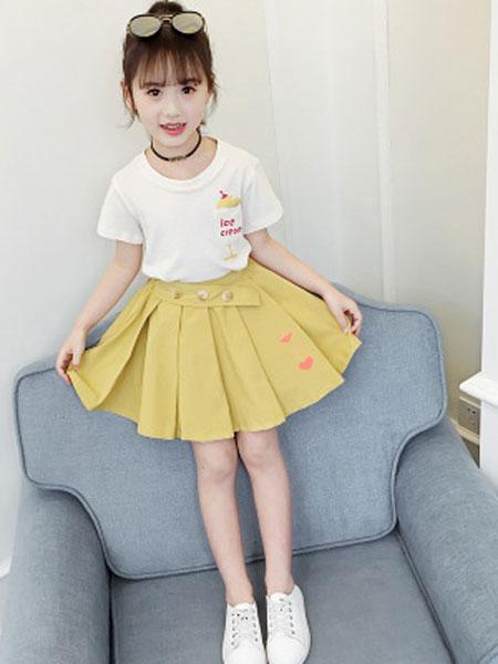甜丝童装品牌2019春夏短袖短裙套装两件套