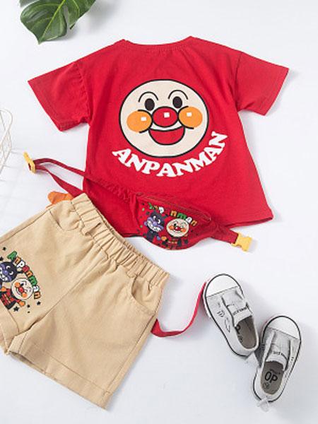 飞阳童装品牌2019春夏卡通面包超人3件套短袖套装