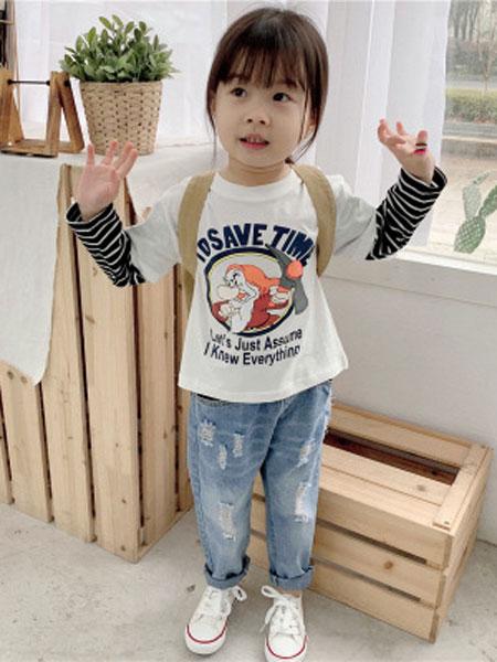 UNIBABY童装品牌2019春夏水洗韩国假两件小矮人条纹长袖
