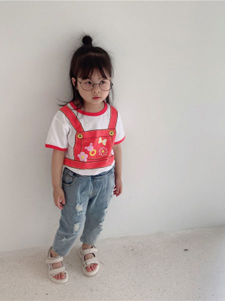 UNIBABY童装品牌2019春夏卡通印花可爱背带印花短袖打底T恤