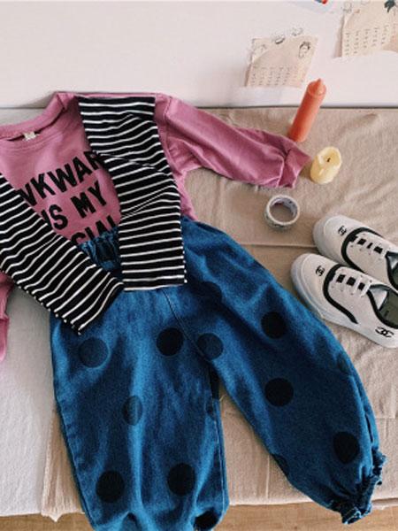UNIBABY童装品牌2019春夏条纹袖打底衫+牛仔长裤