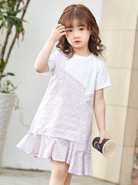 彩蝶童装品牌2019春夏纯棉波点拼接中大童连衣裙