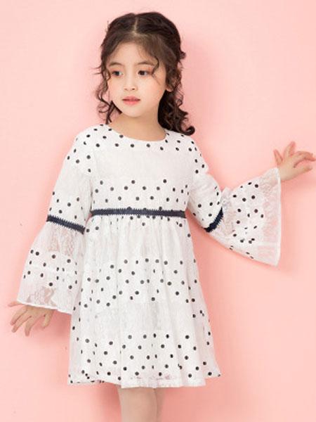 彩蝶童装品牌2019春夏波点女童连衣裙洋气长袖