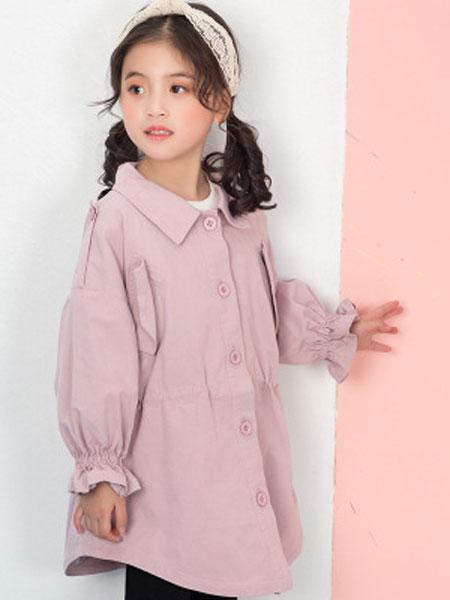 彩蝶童装品牌2019春夏纯色风衣中长款