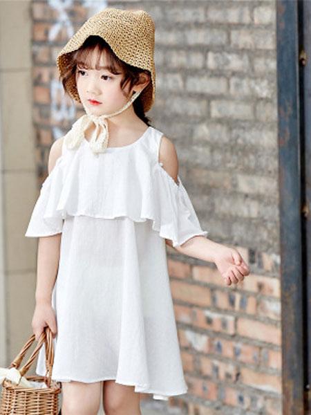 彩蝶童装品牌2019春夏韩版潮流纯色童装连衣裙