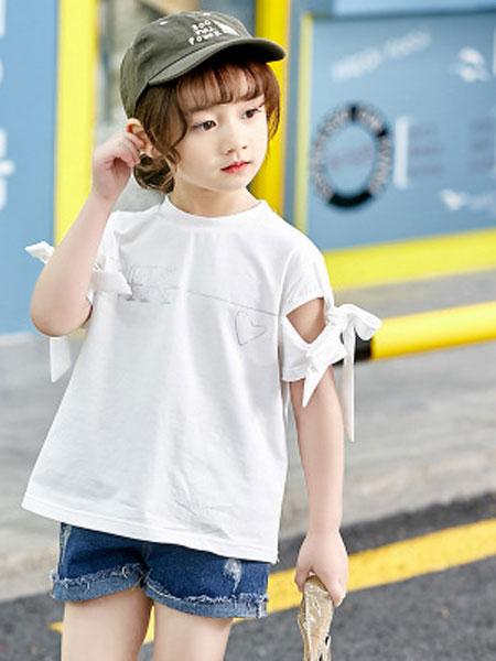 彩蝶童装品牌2019春夏纯色韩版蝴蝶结纯棉中大童T恤