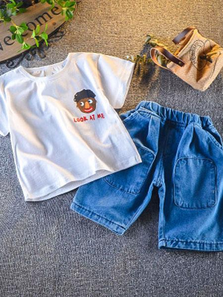 穗哲童装品牌2019春夏宽松牛仔中裤潮童两件套