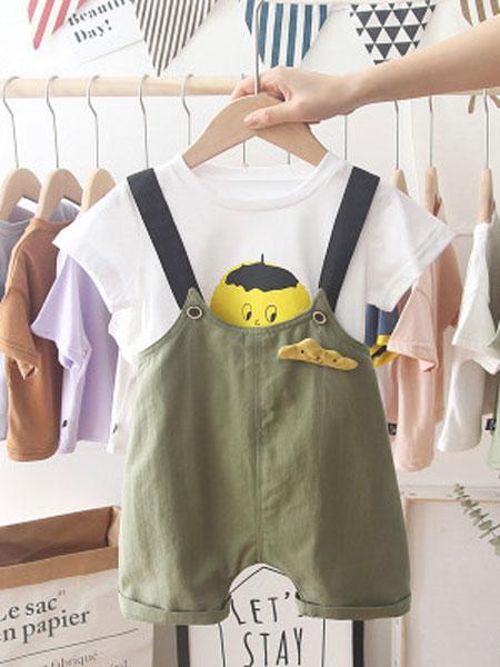 穗哲童装品牌2019春夏背带裤韩版洋气两件套潮