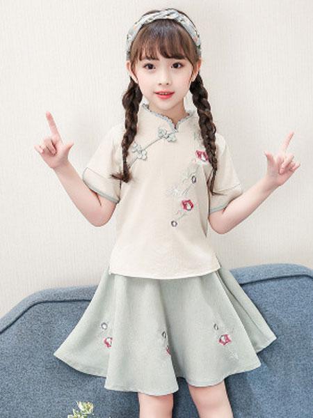 云思舞夕童装品牌2019春夏复古盘扣民族衣服中国风刺绣裙两件套