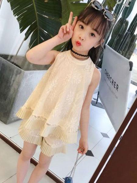 云思舞夕童装品牌2019春夏蕾丝潮衣两件套
