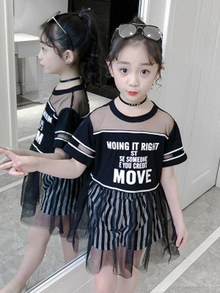 云思舞夕童装品牌2019春夏字母短袖网纱裙两件套