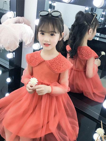 云思舞夕童装品牌2019春夏洋气蕾丝网纱裙小女孩公主裙子