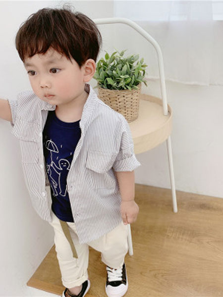 honey baby kids童装品牌2019春夏短袖男小童字母印花衬衫