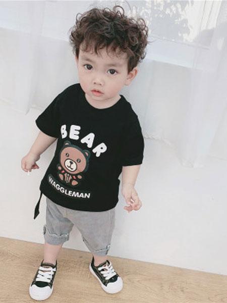 honey baby kids童装品牌2019春夏纯棉圆领短袖男小童打底衫