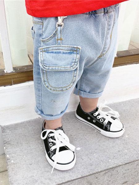 honey baby kids童装品牌2019春夏韩版儿童挂件牛仔裤