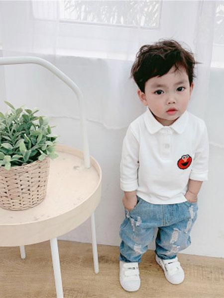 honey baby kids童装品牌2019春夏韩版儿童纯色polo衫