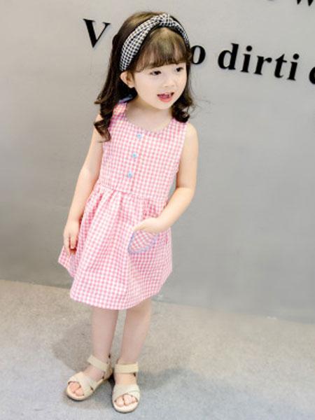 舒杨童装童装品牌2019春夏格子连衣裙