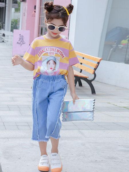 舒杨童装童装品牌2019春夏短袖条纹两件套