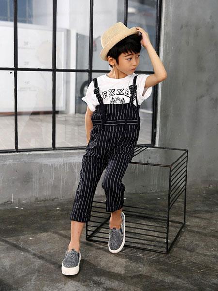 聪明故事童装品牌2019春季吊带条纹阔腿裤