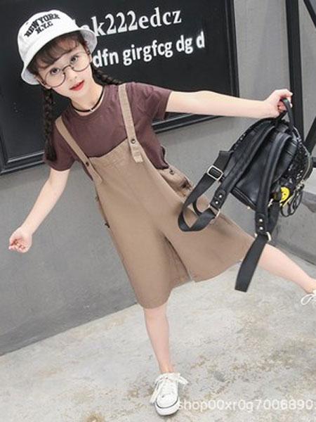 小脑虎童装品牌2019春夏咖啡色短袖背带裤