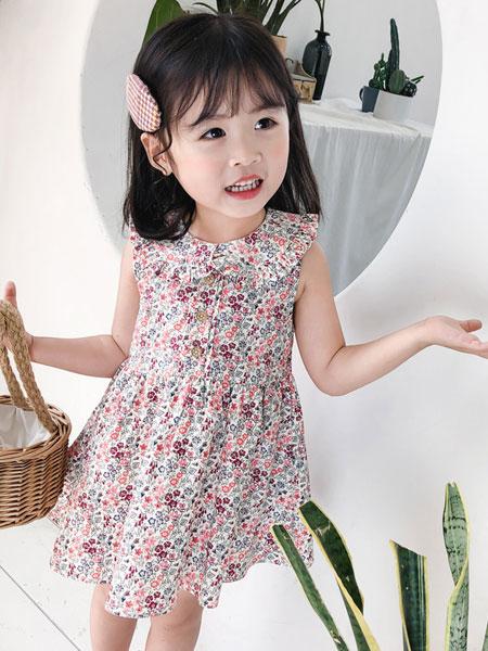 小脑虎童装品牌2019春夏背心碎花连衣裙