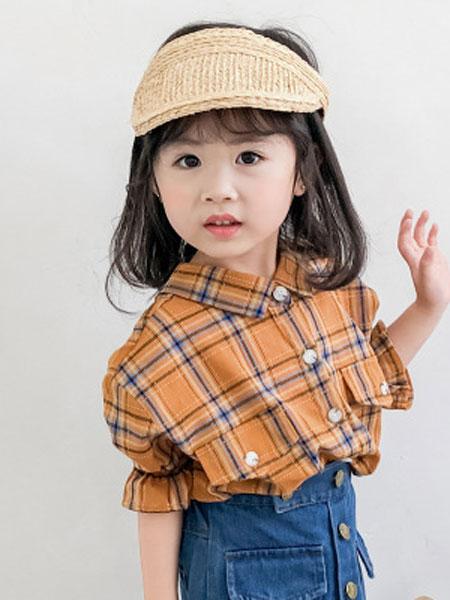 小脑虎童装品牌2019春夏格子后背打结韩版短袖儿童衬衫