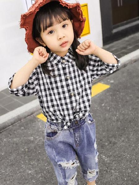 小脑虎童装品牌2019春夏格子衬衫长袖