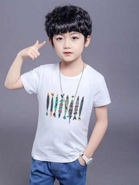 贵点童装品牌2019春夏中大童洋气上衣男孩半袖潮装