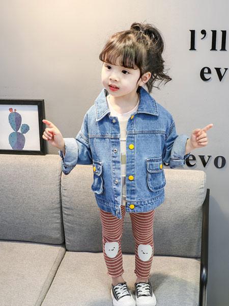 nice童品童装童装品牌2019春夏小黄扣牛仔外套韩版女童翻领长袖