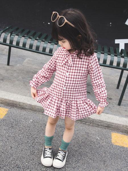 nice童品童装童装品牌2019春夏格子连衣裙长袖木耳边领子时尚